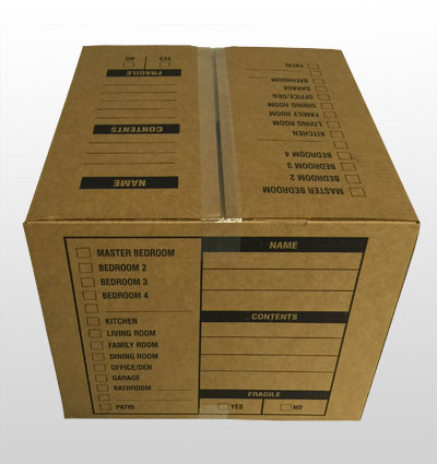 Medium moving box top & back view